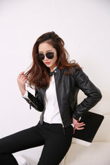 European Style O Neck PU Leather Motorcycle Jacket