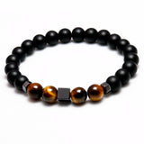 Matte Onyx Natural Stone With Tiger Eye Beads