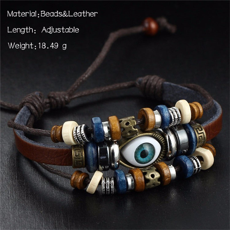 Vintage Rope Handmade Bead Woven Owl Leather Bracelets Bangles