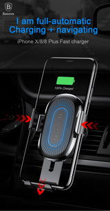QI Wireless Charger Car Holder For iPhone X 8 Samsung S9 Plus