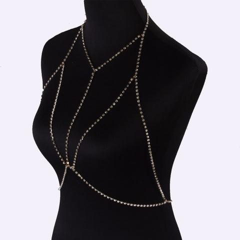 Crystal Chain Bra Necklace