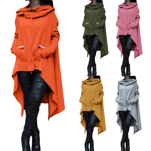 Image of Women Long Sleeve O-Neck Cotton Hoodies