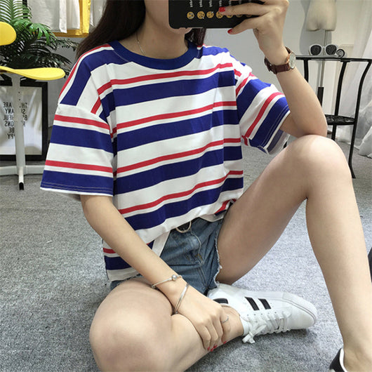 Harajuku Fashion Hit Color Striped Female T-Shirt
