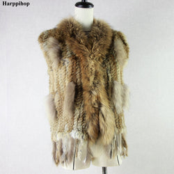 Women's Natural Real Rabbit Fur Vest with Raccoon Fur Collar Waistcoat