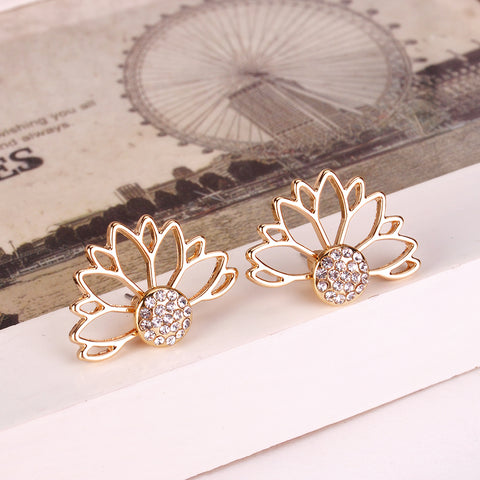 Image of Crystal Hollow Out Half Flower Stud Earrings