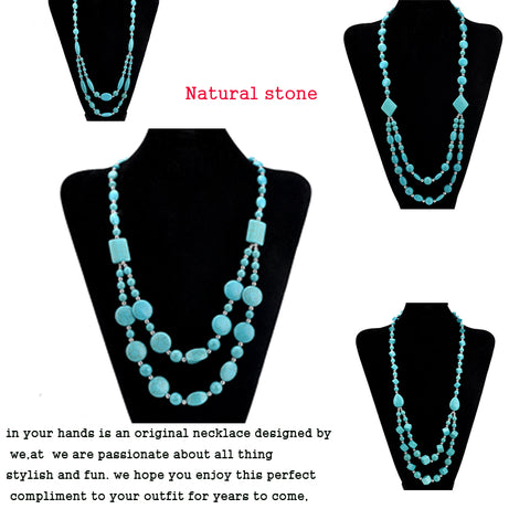 Image of Natural stone Beads Choker Vintage Necklaces