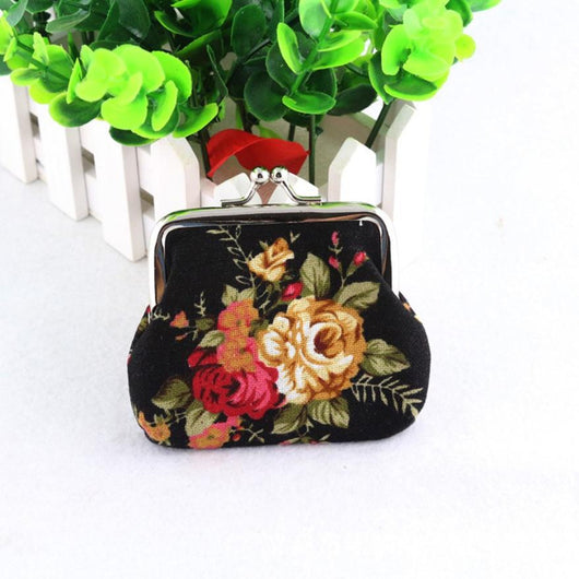 Coin Purse Cute Wallet Lady Retro Vintage Flower Small Wallet