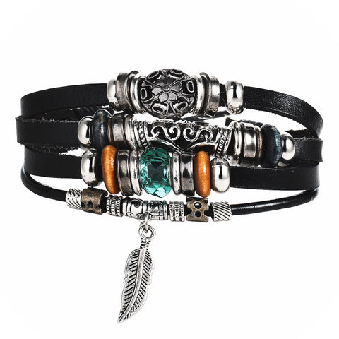 Image of Tibet Stone Feather Leather Eye Fish Charms Beads Bracelets