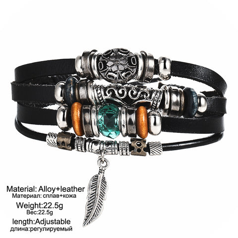 Image of Premium Alloy Beads Charms Leather Bracelets