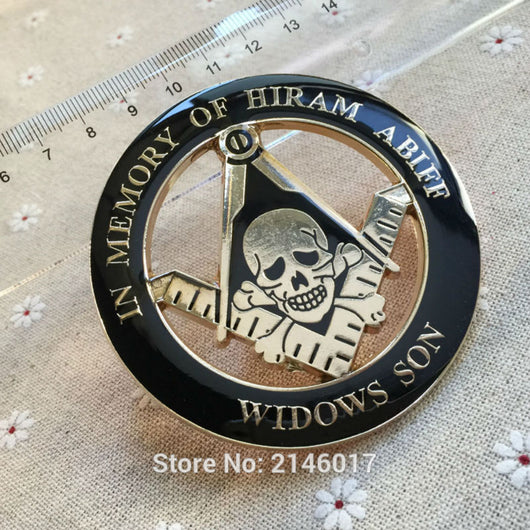 In Memory of Hiram Abiff Widows Son Auto Emblem