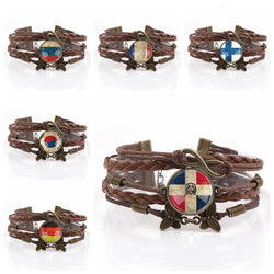 Interchangeable Country Flag Glass Cabochon Double Leather Bracelets