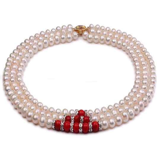 Round White Freshwater Cultured Pearl Necklace