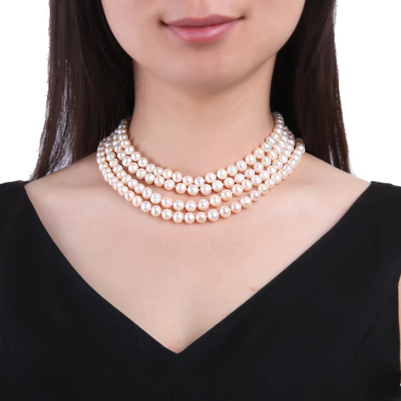 a1bc298bb9b Round White Freshwater Cultured Pearl Necklace
