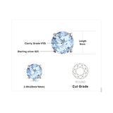 Genuine 925 Sterling 2CT Natural Topaz Birthstone Stud Earrings