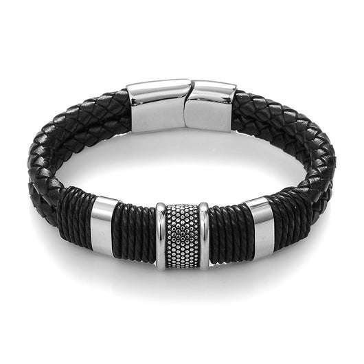 Braid Woven Leather Bracelet Titanium Stainless Steel Bangles