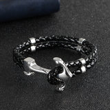 Stainless Steel Anchor Braided Cowhide Leather Rope Bracelets