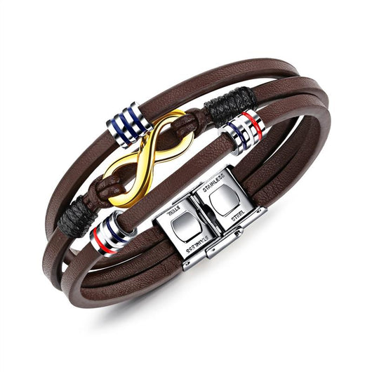 Infinity Stainless Steel Leather Bracelet