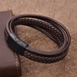 Punk Braid Leather Bracelet Stainless Steel Clasp Wristband