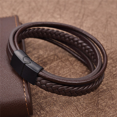 Image of Punk Braid Leather Bracelet Stainless Steel Clasp Wristband