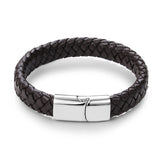 Braided Leather Stainless Steel Magnetic Clasp Fashion Bangles