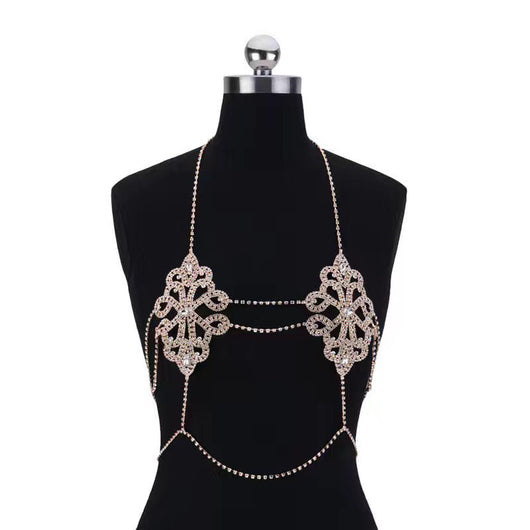 Sexy Flowers Body Bra Chain Necklace