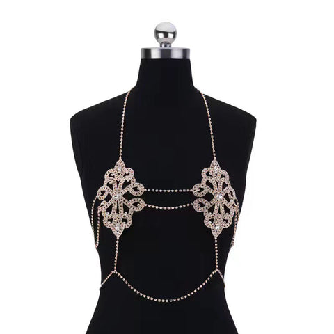Image of Sexy Flowers Body Bra Chain Necklace