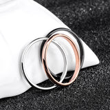 Titanium Steel Rose Gold Smooth Simple Couples Wedding Rings