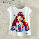Novelty Summer Harajuku Kawaii Cute Fish Animal Panda Print T-shirt