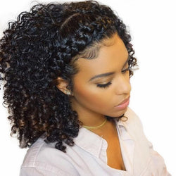 Kinky Curly Wig 360 Lace Frontal Wigs Pre Plucked With Baby Hair