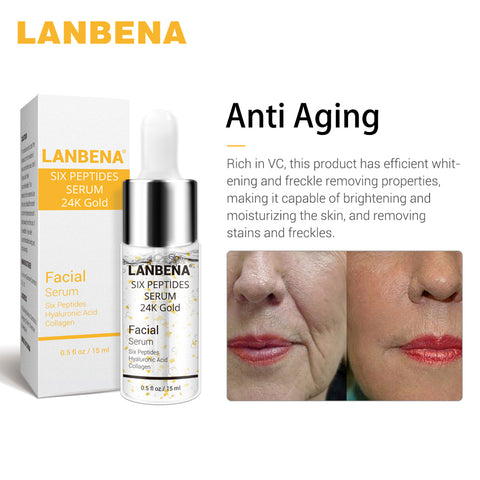 Image of LANBENA Vitamin C Serum+Six Peptides Serum 24K Gold+Hyaluronic Acid Serum Anti-Aging Moisturizing Skin Care