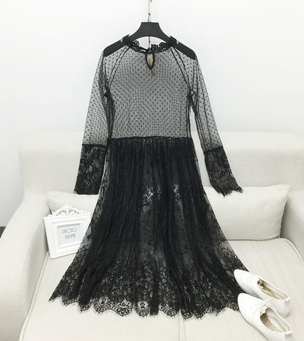 Image of Korean Version Of The New Spring Long Ride Lace Dress