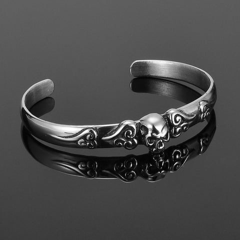 Image of Vintage Skull Skeleton Punk 316L Stainless Steel Retro Lucky Cloud Open Bangle Bracelet