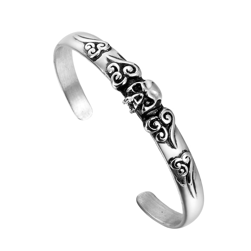 Vintage Skull Skeleton Punk 316L Stainless Steel Retro Lucky Cloud Open Bangle Bracelet