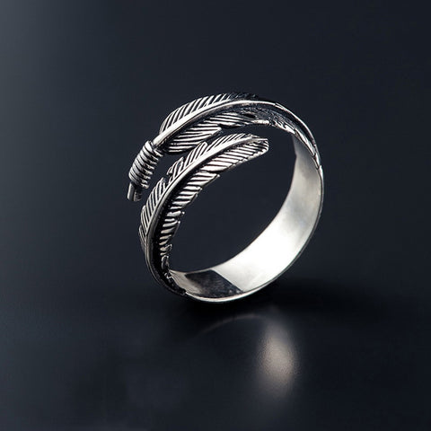 Image of Unique Resizable Feathers Graceful Couple's Retro Ring