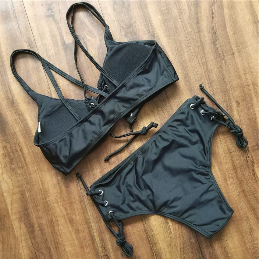Lace Up Front Bikini Set