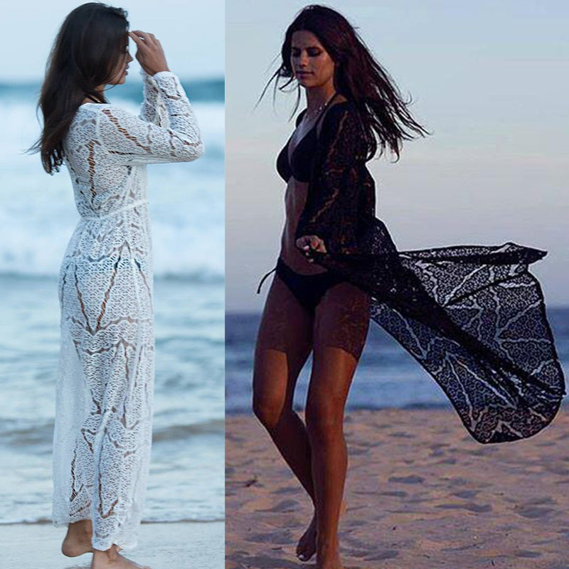 Long Crochet Beach Cover Up Beach Wear