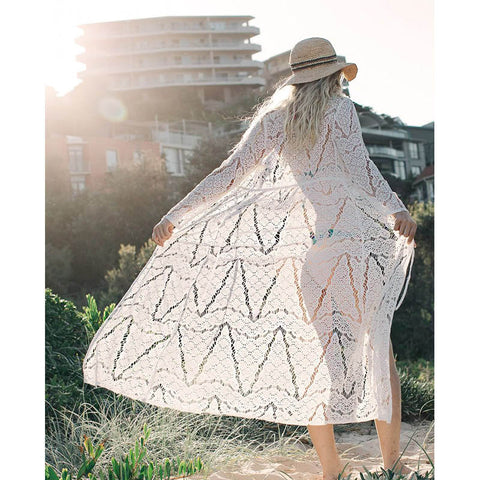 Image of Long Crochet Beach Cover Up Beach Wear