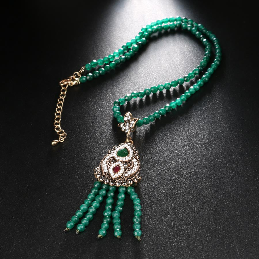 Turkish Antique Africa Bead Long Tassel Pendant Necklace