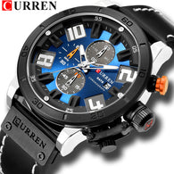 CURREN Leather Strap Digital Wristwatch