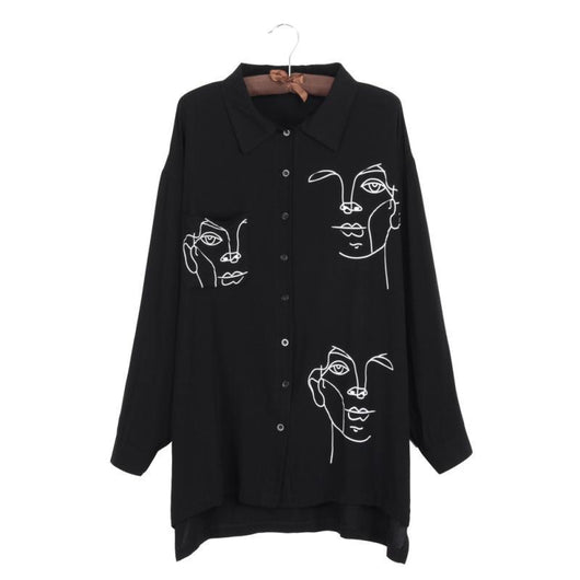 Face Print Casual Loose Long Sleeve Shirt Vintage Tops