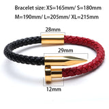 Genuine Leather Cowhide Mix Titanium Steel Nail Charms Bracelets