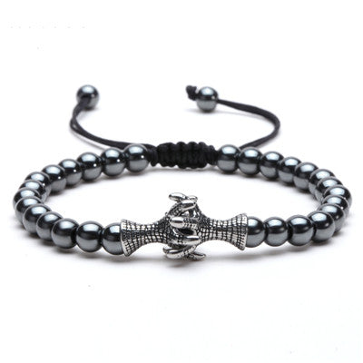 Natural Stone Beads 6MM Hematite Titanium Steel Eagle Claw Gentleman Punk Bracelet