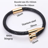 Cuff 6MM Stingray Leather Stainless Steel Nail Gentleman Bracelet