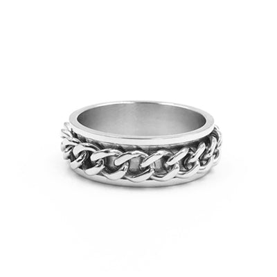 Image of Limited Edition Rotation Chain Texture 316L Titanium Steel Rings