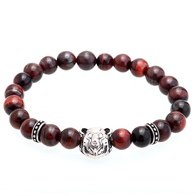 8MM Nature Stone Titanium Steel Tiger Bead Charm Bracelets
