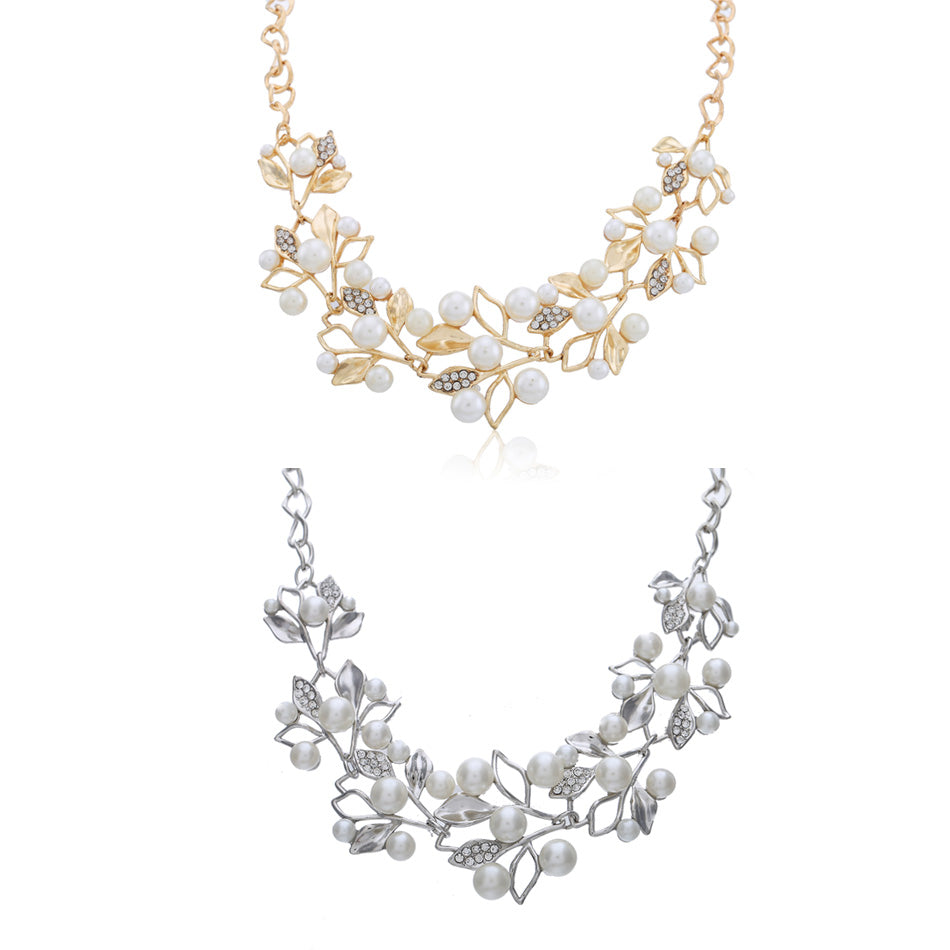 Ethnic Simulated Pearl Leaves Statement Necklace