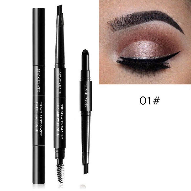 3 in 1 Waterproof Brow Pencil + Powder + Brush Pigment Black Brown Eyebrow Kit