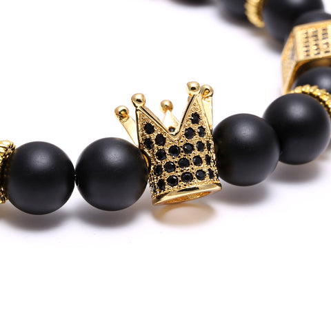 Image of Natural Stone Copper Micro Pave CZ Cubic Zirconia Crown Charms Bracelets