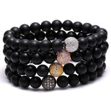 Premium White Zircon Ball Paved Nature Stone Bracelets
