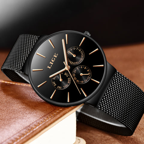 Image of LIGE Luxury Waterproof Ultra Thin Date Casual Quartz Watch